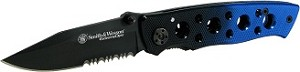 S&W Extr Ops w/ serrated Drop Point blade/Black-Blue Alum handle