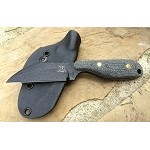 Talon A, black blade, plain, sharp back, black Micarta