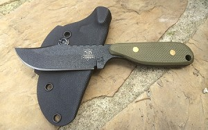 Talon E, black blade, plain, green tex, G10